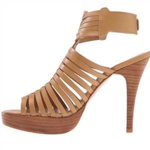 STUART WEITZMAN nude leather Tijuana heeled sandal